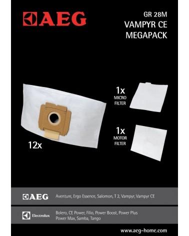 icecat_AEG Gr. 28M Megapack - 12 Staubbeutel, 1 Motorfilter, 1 Microfilter - für VAMPYR CE, 9001670141,  GR28M